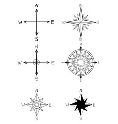 hand drawn elements vintage wind rose vector image