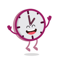 happy cartoon wall clock vector image