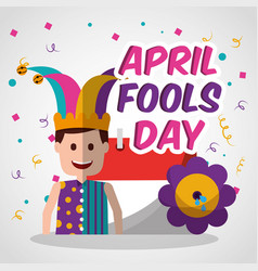 happy joker with prank flower and calendar april vector image