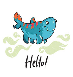 hello funny print with halloween shark ideal for vector image