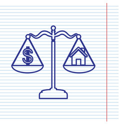House and dollar symbol on scales navy vector