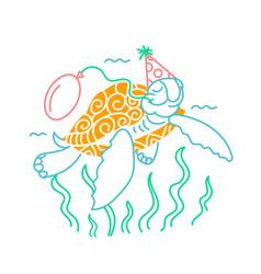 Icon a happy turtle vector