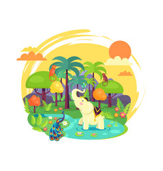 Indian jungle with tall trees and exotic animals vector