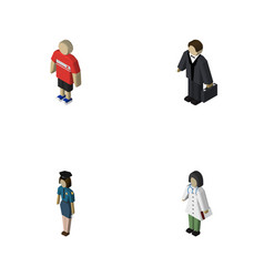 Isometric person set of guy doctor investor and vector