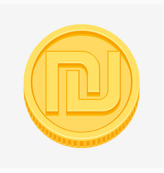 israeli shekel symbol on gold coin vector image