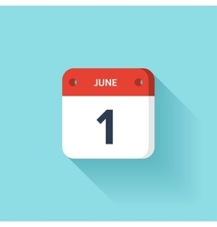 June 1 Isometric Calendar Icon With Shadow vector