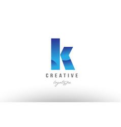 K blue gradient alphabet letter logo icon design vector