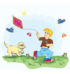 Kid with kite vector