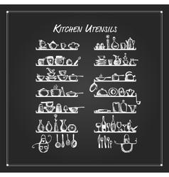 Kitchen utensils on shelves sketch drawing for vector