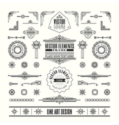 line art deco retro vintage frame design elements vector image