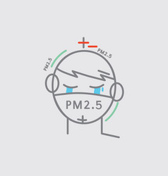 line icon a man crying masked prevent dust pm25 vector image