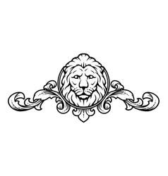 lion head with vintage design elements vector image