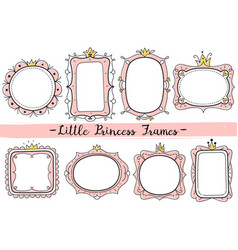 little princess frames pink cute mirrors frame vector image
