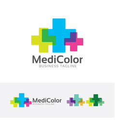 medical color logo design vector image