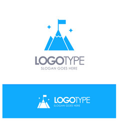 Mountain flag user interface blue solid logo with vector