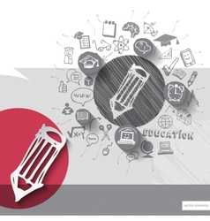 Paper and hand drawn pencil emblem with icons vector image