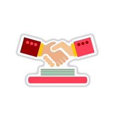 paper sticker on the white background handshake vector image