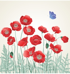 Poppies with Blue Butterfly vector image
