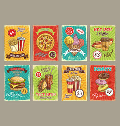 price cards for fastfood meals restaurant vector image