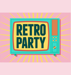 retro party poster design with old tv screen vector image