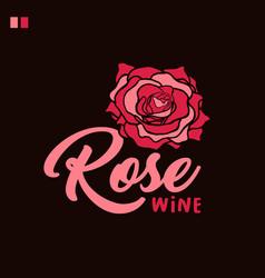 rose wine handwritten lettering vector image