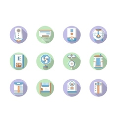 Round flat color home climate icons vector image