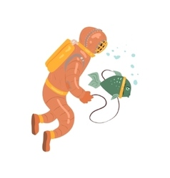 Scuba Diver With Pet Fish vector image