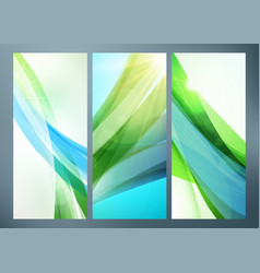Set abstract green wave backgrounds for poster vector