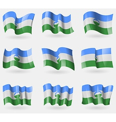 Set of KabardinoBalkaria flags in the air vector