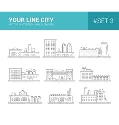 Set of line flat design buildings icons Factories vector image