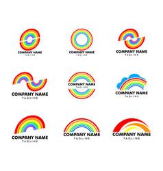 set rainbow logo design template vector image
