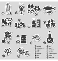 Set typical food allergens for restaurants vector