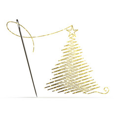 sewing needle with gold thread in shape a vector image