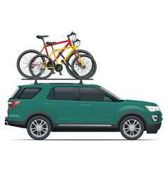 Side view suv car with two bicycles mounted on the vector