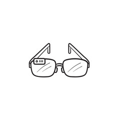 smart glasses hand drawn outline doodle icon vector image