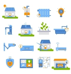 Smart House Decorative Flat Icons vector