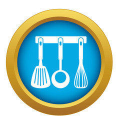 Spatula ladle and whisk kitchen tools icon blue vector