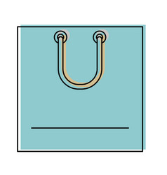 square shopping bag icon with handle in watercolor vector image