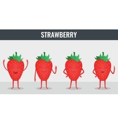 Strawberry funny cartoon fruits organic food vector
