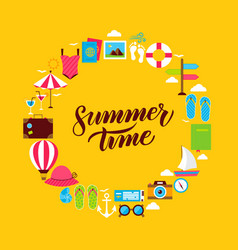 Summertime flat circle vector