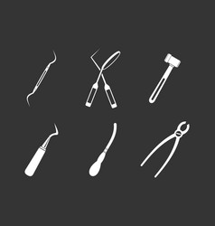 Surgery instrument icon set grey vector