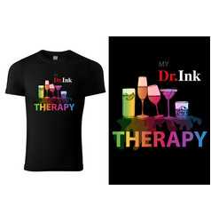 t-shirt design with colorful drink glasses vector image