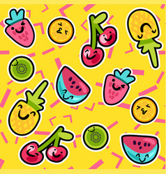 Tasty and sweet summer fruits art pattern vector