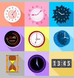 Types of clock icons set flat style vector