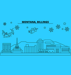 United states billings winter holidays skyline vector