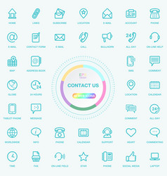 Universal web and internet contact us line icons vector