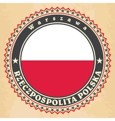 vintage label cards poland flag vector image