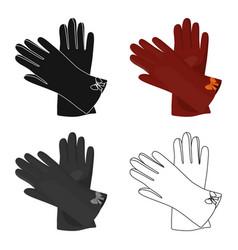 warm burgundy gloves for hands female winter vector image
