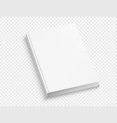 white hardcover book mock up isolated on white vector image