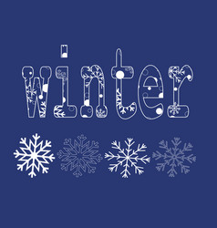 winter card with snowflakes paper vector image